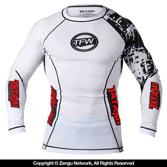 "Tatami ""Flex"" Long Sleeve White Rashguard"